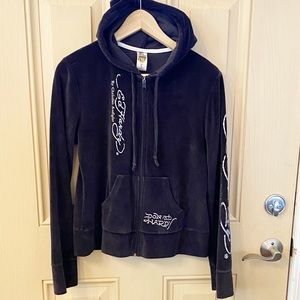 Ed Hardy Velvet Coy Fish Zip Up